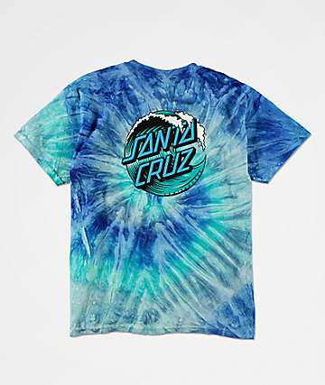 Santa Cruz Boys Wave Dot Blue Tie Dye T-Shirt