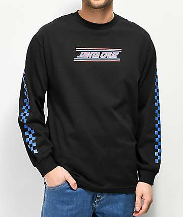 Santa Cruz Checkerboard Striped Black Long Sleeve T-Shirt