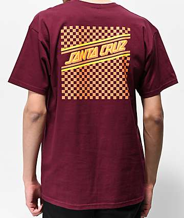 Santa Cruz Checkered Strip Burgundy T-Shirt