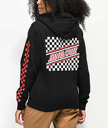 Santa Cruz Checkered Stripe Black & Red Hoodie