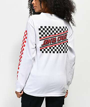 Santa Cruz Checkered Stripe Red & White Long Sleeve T-Shirt