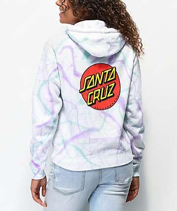 Santa Cruz Classic Dot Teal & Purple Tie Dye Hoodie