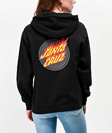 Santa Cruz Flaming Dot Black Hoodie
