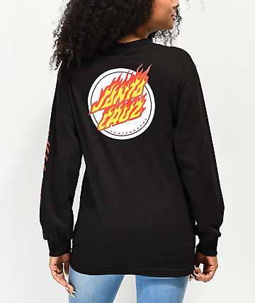 Santa Cruz Flaming Dot Black Long Sleeve T-Shirt