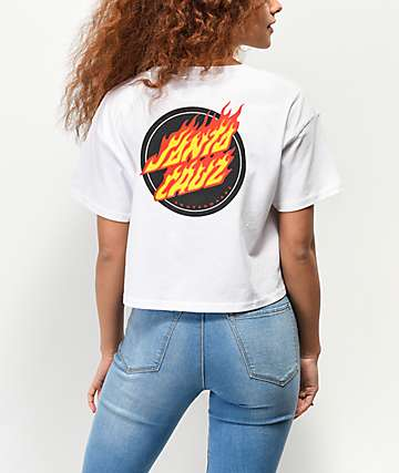 Santa Cruz Flaming Dot White Crop T-Shirt