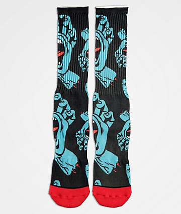 Santa Cruz Hands Allover Black Crew Socks