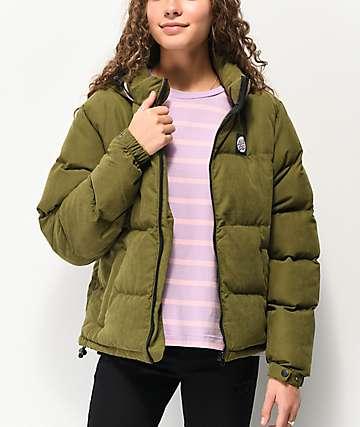 Santa Cruz Olive Green Hooded Puffer Jacket