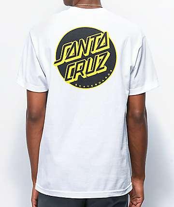 Santa Cruz Other Dot White, Black & Yellow T-Shirt