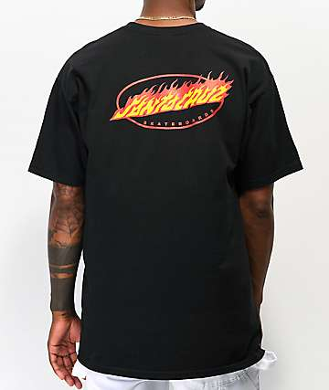 Santa Cruz Oval Flame Dot Black T-Shirt