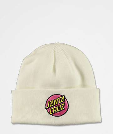Santa Cruz Pink Dot White Beanie
