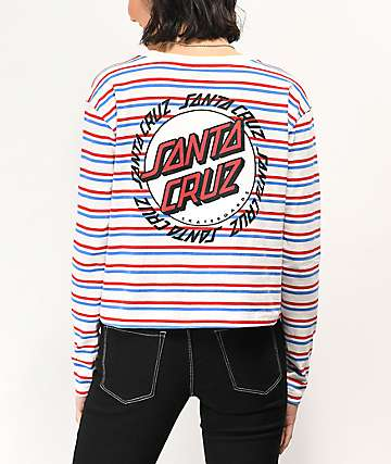 Santa Cruz Ringed Cali Dot White, Blue & Red Striped Long Sleeve T-Shirt
