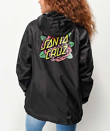 Santa Cruz Rose Dot Black Windbreaker Jacket