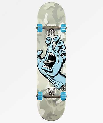 "Santa Cruz Screaming Hand 7.25"" Grey Camo Skateboard Complete"