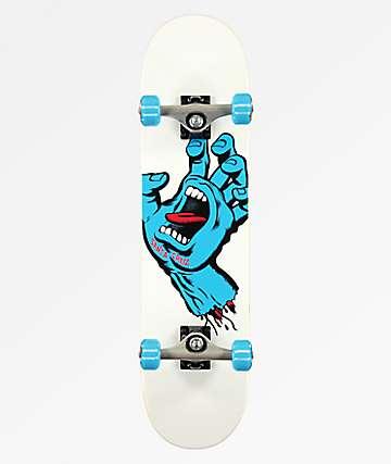 "Santa Cruz Screaming Hand White 7.5"" Skateboard Complete"