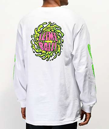 Santa Cruz Slime Balls NBNG White Long Sleeve T-Shirt