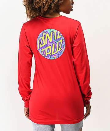 Santa Cruz Spill Dot Red Long Sleeve T-Shirt