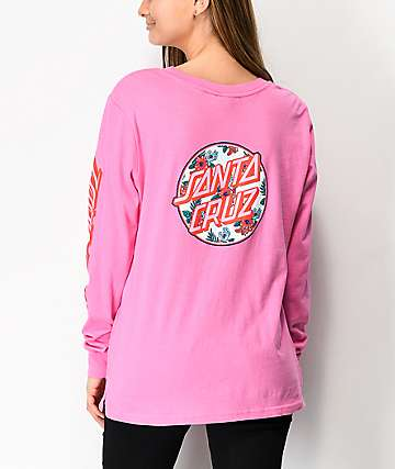 Santa Cruz Vacation Dot Fuchsia Pink Long Sleeve T-Shirt