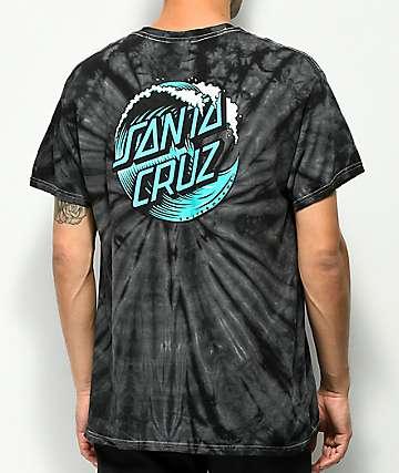 Santa Cruz Wave Dot Black Spider Tie Dye T-Shirt