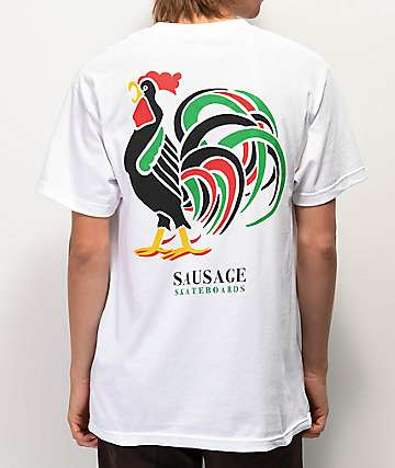 Sausage Rooster White T-Shirt