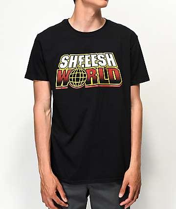 Sheesh World Around The World Black T-Shirt