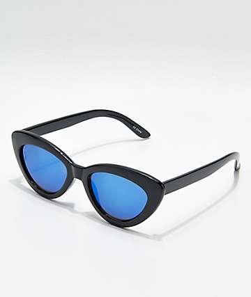 Shiny Black & Blue Mirror Cat Eye Sunglasses