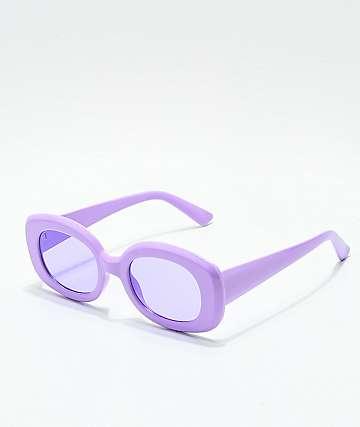 Shiny Light Purple Rectangle Sunglasses