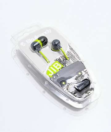 Skullcandy Jib Grey & Lime Earbuds