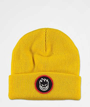 Spitfire Bighead Circle Patch Yellow Beanie