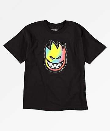 Spitfire Boys Big Head Rainbow Fill Black T-Shirt