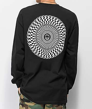 Spitfire Checkered Swirl Black Long Sleeve T-Shirt