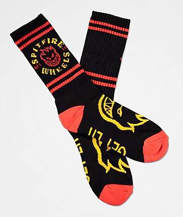 Spitfire Classic Bighead Black Crew Socks