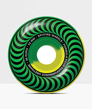 Spitfire Formula Four Classic Green & Yellow 52mm 99a Skateboard Wheels