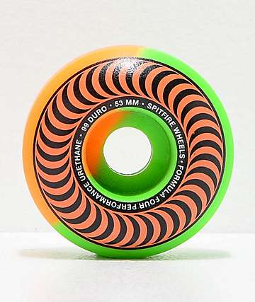 Spitfire Formula Four Classic Orange & Green 53mm 99a Skateboard Wheels