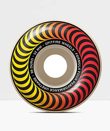 Spitfire Formula Four Fader 52mm 99a Red & Yellow Skateboard Wheels