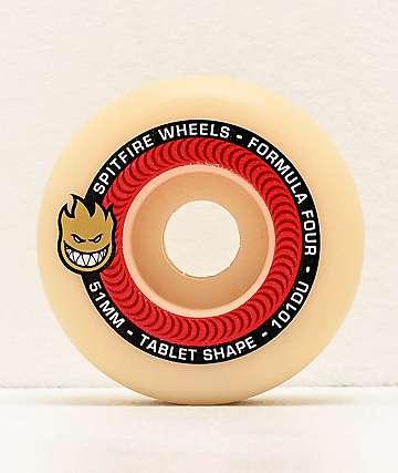 Spitfire Formula Four Tablet 51mm 101a Red & Natural Skateboard Wheels