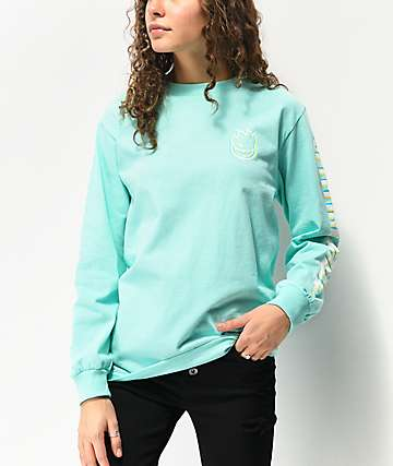 Spitfire Overlay Lil Bighead Mint Green Long Sleeve T-Shirt