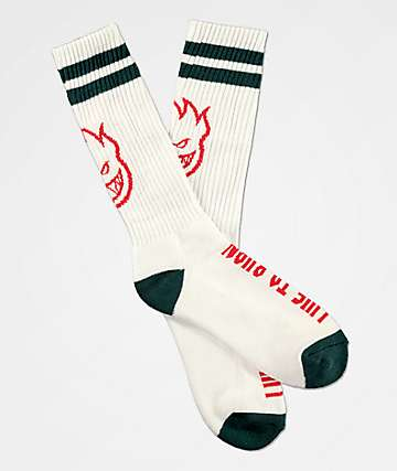 Spitfire SF Heads Up White Crew Socks