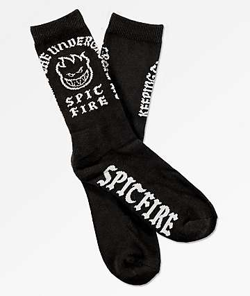 Spitfire Steady Rockin Black Crew Socks