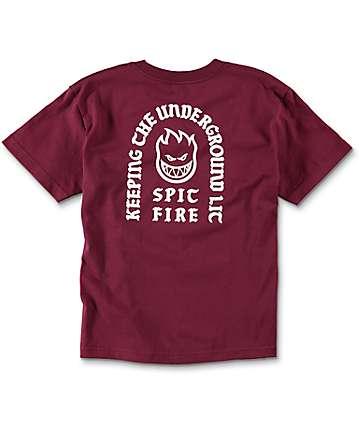 Spitfire Steady Rockin Boys Burgundy T-Shirt