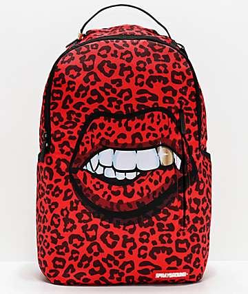 Sprayground Leopard Lips mochila roja