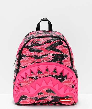 Sprayground Pink Tiger Camo Sharkmouth Mini Backpack