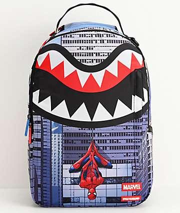 Sprayground x Spiderman Upside Down Shark Backpack
