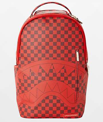 Sprayground x Todd Gurley Sharks In Paris Red Checkerboard Backpack