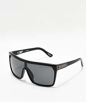 Spy Flynn Black Gloss, Matte Black, Grey-Green Happy Lens Sunglasses