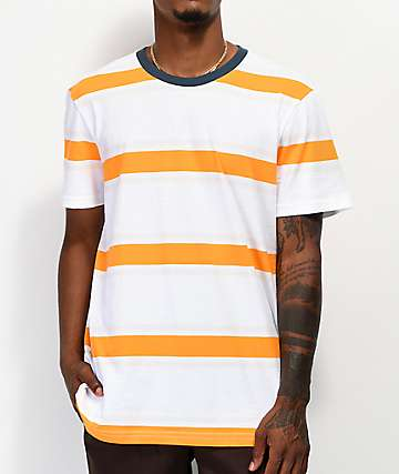 Stance Boyd White, Orange & Gold Stripe T-Shirt