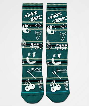 Stance Get Beat Green Striped Crew Socks