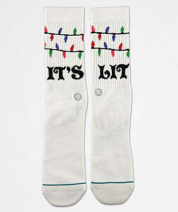 Stance Its Lit Snow White Crew Socks