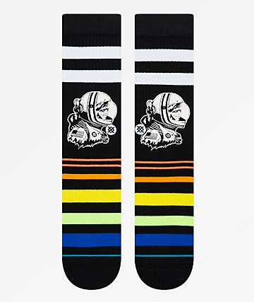 Stance Moon Man Striped Black Crew Socks