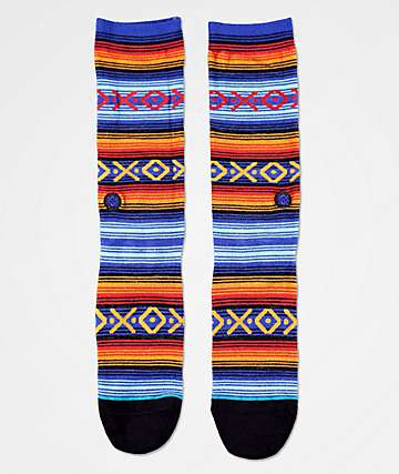 Stance Slap Stick Blue, Burgundy & Brown Striped Crew Socks