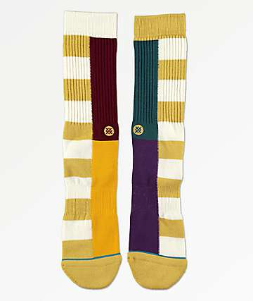 Stance Split Checker Natural Crew Socks